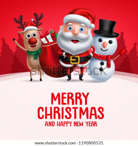 Merry christmas greeting with christmas vector characters. Santa claus, reindeer and snowman carrying christmas gift waiving hand in red background. Vector illustration.
