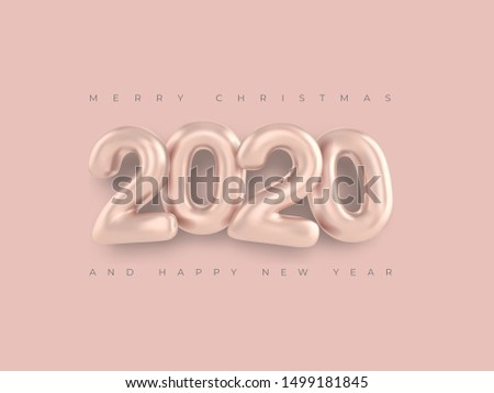 Merry Christmas greetings and Happy new year 2020 template pink numbers on a pink background 3d style greeting card. Minimalistic banner, realistic inscription 2020. Happy New Year 2020 logo design.