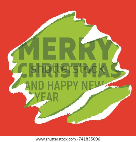 Merry Christmas greetings on green background teared into red wrapping paper. Design for greeting card, pf or website banner.