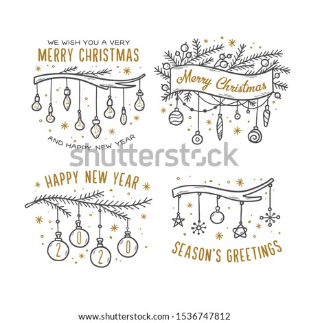 Merry Christmas hand drawn greeting cards set. Season's greetings. Happy New Year 2020. Doodle style festive drawings for prints postcards decoration needs. Vector vintage illustration.