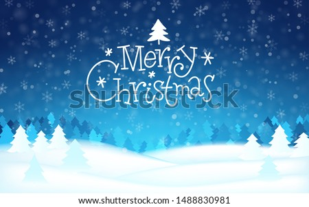 Merry christmas hand drawn lettering banner. Winter abstract background tree, snow, forest. Xmas template card, poster, banner New year happy season design Concept backdrop Holiday vector illustration