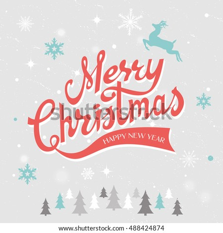 Merry Christmas hand drawn lettering vector illustration. Vector EPS 10.
