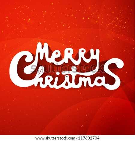 Merry christmas hand lettering applique background. Vector illustration for your design.