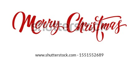 Merry christmas hand lettering calligraphy isolated on white background. Vector holiday illustration element. Merry Christmas script calligraphy