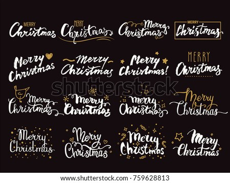 Merry Christmas hand lettering. Handwritten label, emblem, text design with golden festive symbols for congratulation card, party invitation, banner, poster, flyer templates. Isolated vector set.