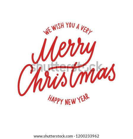 Merry Christmas -  hand lettering round desiign inscription vector.