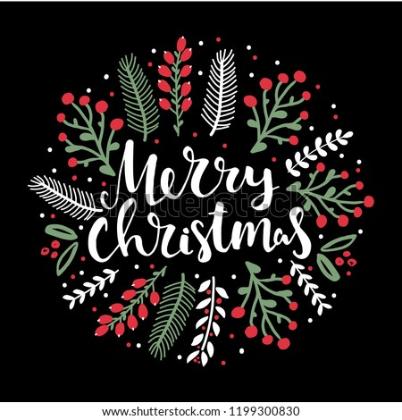 stock-vector-merry-christmas-hand-lettering-words-and-flower-arrangement-greeting-card-hand-drawn-doodle-floral