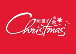 Merry Christmas handwritten lettering. White text with snowflakes isolated on red background. Christmas holidays typography. Vector illustration.