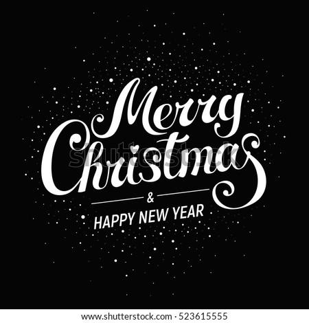 Merry Christmas - handwritten vector lettering, for card, banner, poster, label, bookmark, print design