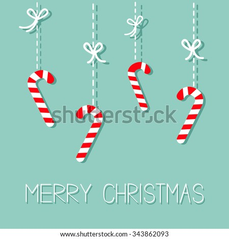 Merry Christmas Hanging Candy Cane. Dash line with bow. Flat design. Blue background. Vector illustration