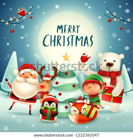 Merry Christmas! Happy Christmas companions in the moonlight. Santa Claus, Reindeer, Elf, Polar Bear, Fox, Penguin and Red Cardinal Bird in Christmas snow scene.