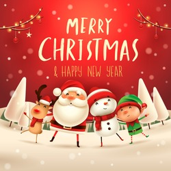 Merry Christmas! Happy Christmas companions. Santa Claus, Snowman, Reindeer and elf in Christmas snow scene.