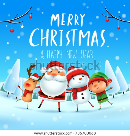 Stock Photo Merry Christmas! Happy Christmas companions. Santa Claus, Snowman, Reindeer and elf in Christmas snow scene.