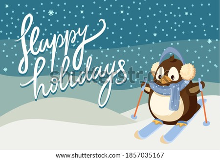 Merry Christmas happy holidays greeting poster vector. Penguin animal wearing warm clothes knitted scarf and headwear, skiing down hill winter scenery Stockfoto ©