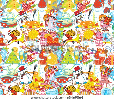 Merry Christmas & Happy New Year Abstract Background (colorful vector)