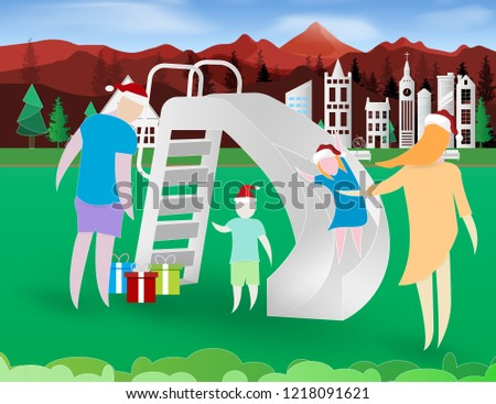 merry christmas happy new year background with colorful father mother kids and playground