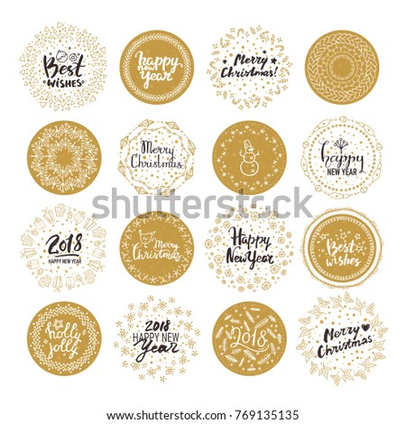 Merry Christmas, Happy New Year 2018, Best wishes round stickers. Vector set of Christmas & New Year holiday handwritten lettering label, emblem, text design. Pattern brushes are included in EPS file.