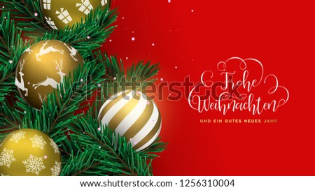 Merry Christmas Happy New Year card in german language. Gold xmas ornaments and realistic pine tree on red background. Holiday design for invitation or seasons greeting.