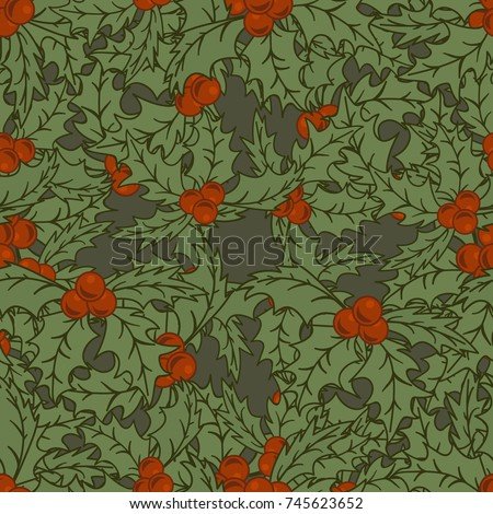 Merry Christmas/ Happy New Year design in traditional style. Holly or Mistletoe minimal design. Christmas seamless pattern in vintage style. Vector repeat multilayered pattern in flat style for print.