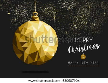 merry christmas happy new year fancy gold ornament bauble shape in hipster origami style ideal