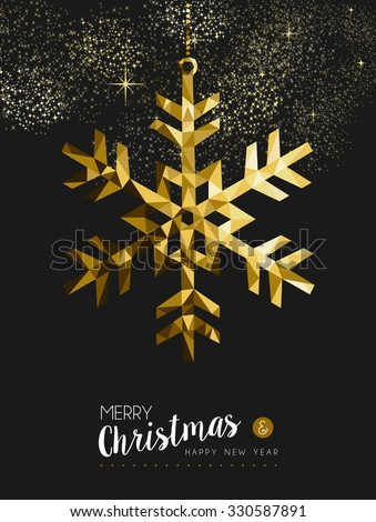Merry christmas happy new year fancy gold winter snowflake shape in hipster origami style. Ideal for xmas card or elegant holiday party invitation. EPS10 vector.