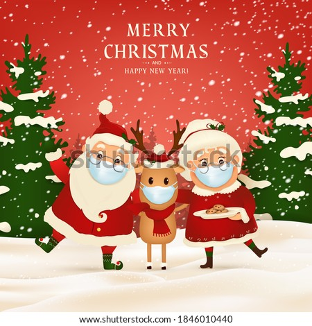 Merry Christmas. Happy new year. Funny Santa Claus with cute Mrs. Claus, red-nosed Reindeer Wearing Medical Face Mask in Christmas snow scene winter landscape. Vector cartoon character of Santa Claus.