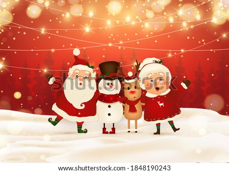 Merry Christmas. Happy new year. Funny Santa Claus with Mrs. Claus, red-nosed Reindeer, snowman in Christmas snow scene winter landscape. Mrs. Claus Together. Vector cartoon character of Santa Claus.