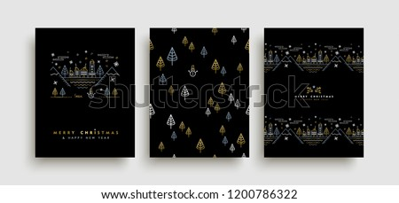 Merry Christmas Happy New Year gold greeting card and seamless pattern set in outline style, festive city illustration with golden elements, houses, snow xmas decoration.
