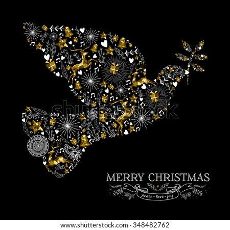 Merry Christmas Happy New Year greeting card design, holiday elements and reindeer in gold low poly style making peace dove bird shape silhouette. EPS10 vector.