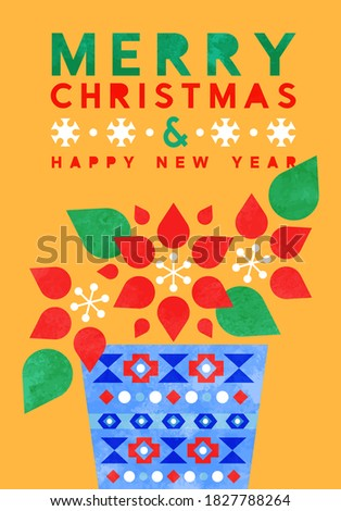 Merry Christmas Happy New Year greeting card illustration of modern scandinavian art style poinsettia flower with colorful watercolor shapes. Abstract geometric design for festive xmas celebration.