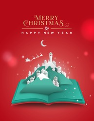 Merry Christmas Happy New Year greeting card illustration of winter season landscape inside open book. Festive 3D papercut xmas village with mountains and santa claus flying in sled.