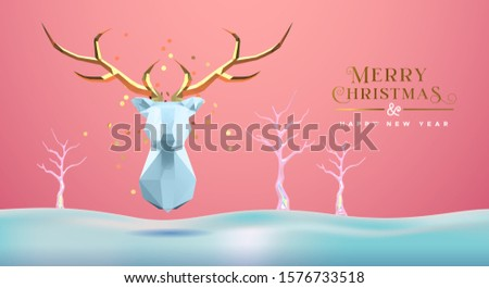 Merry Christmas Happy New Year greeting card, low poly 3d reindeer head with gold antler on delicate winter snow landscape. Paper craft origami deer design for seasons greetings.