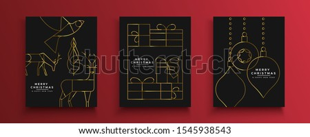 Merry Christmas Happy New Year greeting card set of luxury gold holiday decoration in abstract outline art style. Includes reindeer, gift box and bauble ornaments.