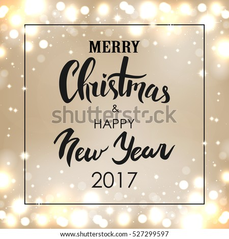 Merry Christmas & Happy New Year. Handwritten greeting card. Vector illustration.