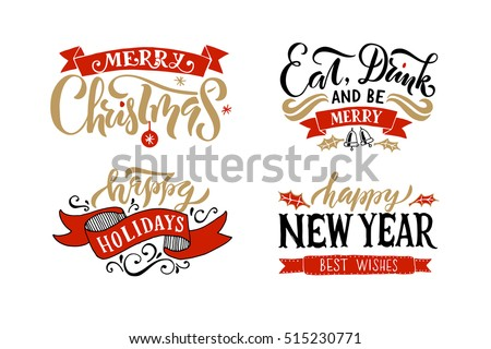 merry christmas happy new year happy holidays greeting card lettering celebration logo