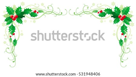 Merry Christmas Happy New Year holly horizontal corner banner frame border, holly berry, copy space. Isolated white background. Abstract poster, greeting card design template. Vector illustration eps