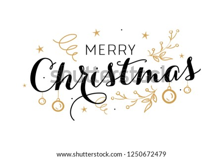 Merry christmas, happy new year lettering font text card. Typography inscription decoration poster winter holiday design gold candle Christmas tree bell snow. Vector illustration isolated background. #1250672479