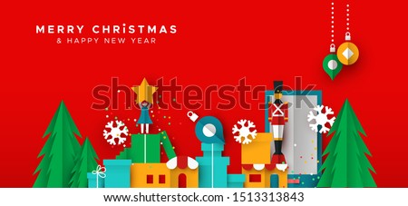 Merry Christmas Happy New Year papercut web banner illustration of holiday season landscape in paper fold style. Includes festive winter shops, ornaments and pine trees.