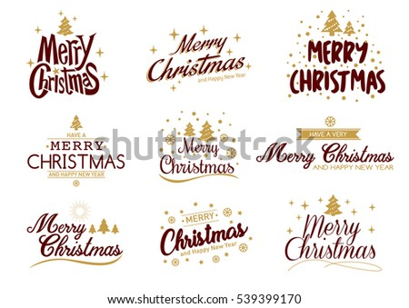 merry christmas happy new year typography set vector logo emblems text