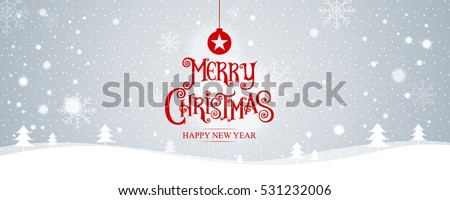 Merry Christmas. happy new year. Vector Illustration. Lettering Design With Stars And Sparkles. landscape background, snow, banner design.