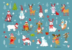 merry christmas  happy new year winter cartoon cute funny animals in santa hats scarfs with presents collection. polar bears, reindeer, deer, fox, cat, dog, wolf, rabbit, penguin, owl, birds, gnome