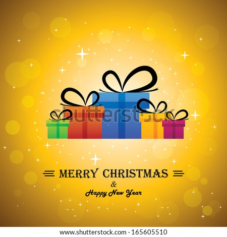 Merry christmas & happy new year with gifts - concept vector. This abstract graphic contains colorful gift boxes with xmas lights bokeh & stars in the background