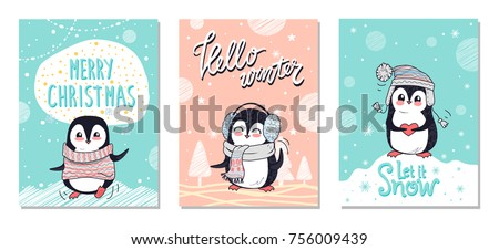 Merry Christmas Hello Winter Let It Snow Greeting Christmas Cards With  Penguin In Warm Cloth On