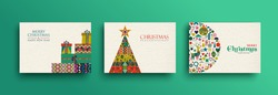 Merry Christmas holiday folk art card collection. Template set of scandinavian style gift box pile,xmas tree and traditional geometric shapes in festive colors. EPS10 vector.