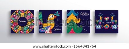 Merry Christmas holiday folk art card collection. Template set of scandinavian style xmas tree, reindeer, dove bird and traditional geometric shapes in festive colors.