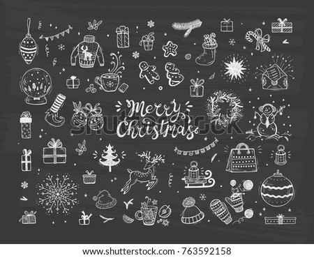 Holiday Vector Big Set Of Hand Drawn Doodle Christmas Decorations With Lettering