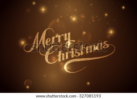 Merry Christmas. Holiday Vector Illustration. Shiny Lettering Composition With Stars And Sparkles