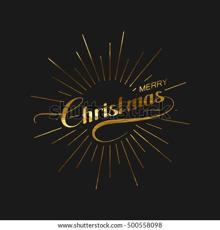 Merry Christmas. Holiday Vector Xmas Illustration. Lettering Golden Label With Light Rays Burst