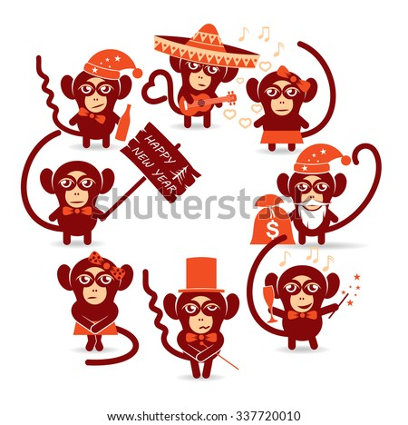 merry Christmas holidays monkey/set of funny Christmas Monkey #337720010