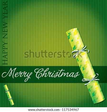 Merry Christmas holly/mistletoe cracker card in vector format.